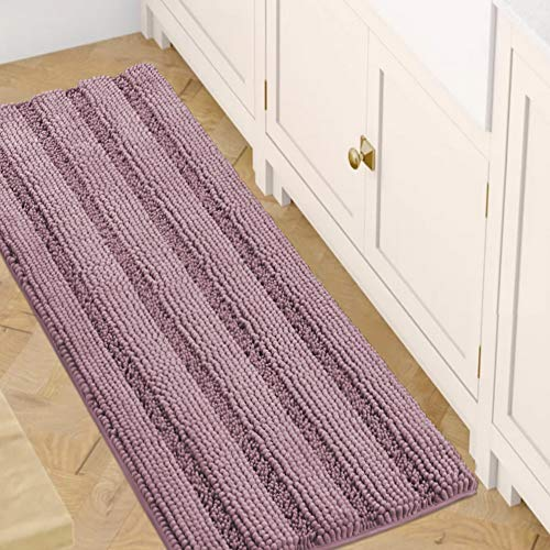 Bath Rugs for Bathroom Washable Non Slip Extra Thick Chenille Striped Bath Mat Rug Runners 47' x 17' Absorbent Fluffy Soft Shaggy Mats Dry Fast Plush Area Carpet for Bath Room, Tub - Mauve