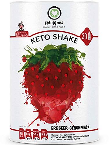 KetoMeals Keto Shake Erdbeere (30 Portionen) Sport- & Abnehm-Shake, Ketogene Ernährung, Low Carb Diät, 450g Pulver