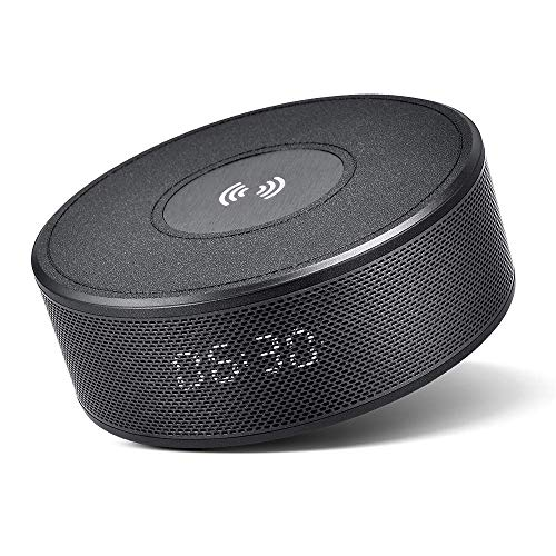 Great Features Of Bluetooth Speaker with Qi Wireless Charger Alarm Clock FM Radio Microphone, Portab...