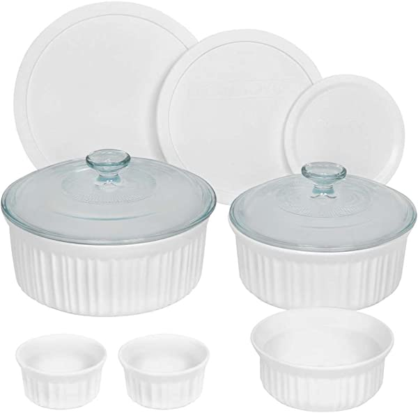 CorningWare French White Round Bakeware Set 10 Piece White