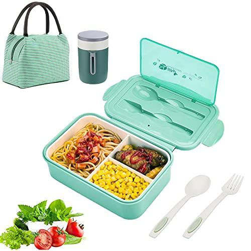 IYOYI Lunch Box Kit - Porta Pranzo da Ufficio con Posate & Tazza Termica & Borsa Termica Porta Pranzo, Bento Box Adulto da Ufficio, Porta Pranzo Bambini da Scuola, Microonde Sicuro(Verde)