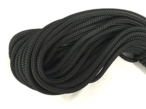 1/4 Inch by 100 Feet Black Double Braid Polyester Rope