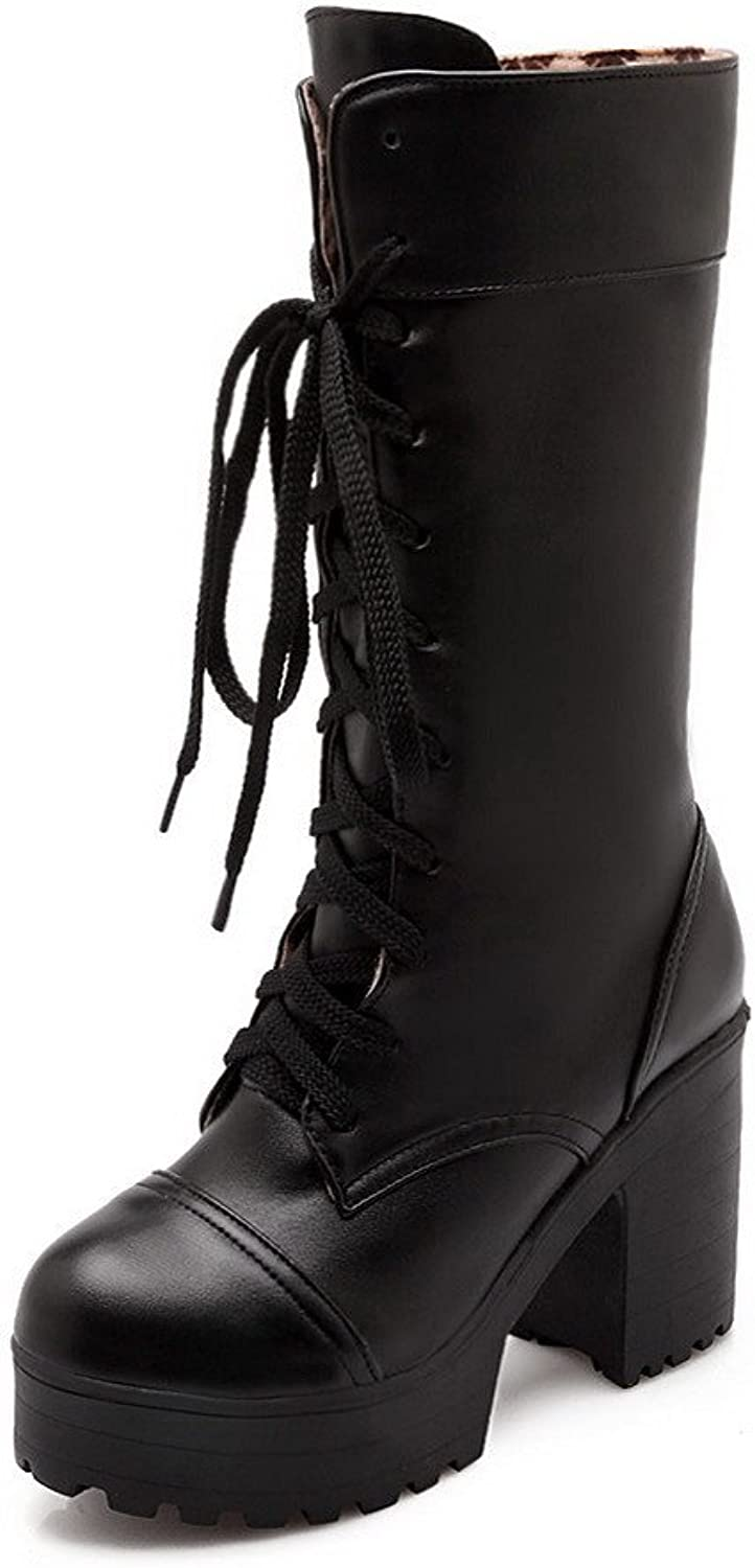 WeenFashion Women's Lace up Pu Round Closed Toe High-Heels Solid Boots