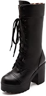 Women's Solid Pu High Heels Round Closed Toe Lace Up Boots