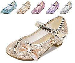 Golden/Ce Heels Mary Jane Princess Flower Girl Shoes