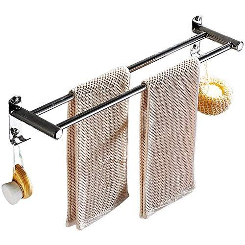 Handdoekhouder -tafels lijm handdoekverwarmer muur dubbel-handdoekhouder 2 Free haken gaatjes vrij 40 cm 15 75 inch zelfklevende of schroeven Montag (grootte: 50cm) 40 cm.