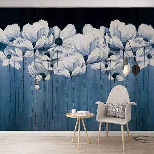 HDDNZH muurschildering op maat, 3D grote muurschildering behang Hd Nordic Blauwe gebloemde TV sofa achtergrond muur kantoor woonkamer slaapkamer huis decoratie 280cm(H)×460cm(W)