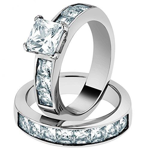 Marimor Jewelry Women's Stainless Steel 316 Princess Cut 3.75 Carat Zirconia Wedding Ring Set Size 7