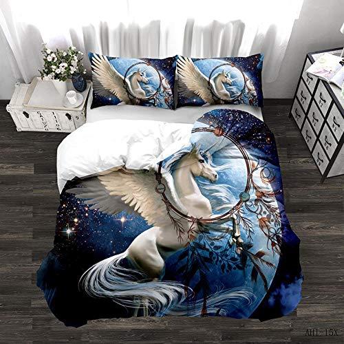 Bevvsovs Bettbezug Bettwäsche Set - Einhorn Starry Dream Catcher 220 X 230 cm Bettbezug Und Kissenbezug(1 Bettbezug Mit Reißverschluss + 2 Kissenbezüge 50X75Cm),Mikrofaser,3D Digital Print Dreiteili