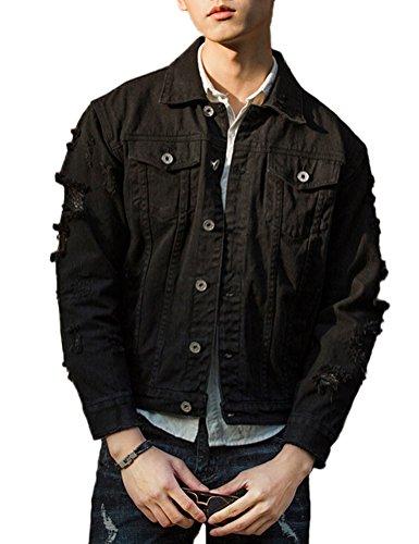 DSDZ Men`s Retro Vintage Washed Ripped Hip Hop Motorcycle Denim Jacket Black S