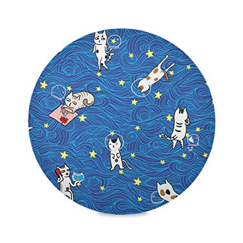 XiangHeFu Dessin animé, Monde, étoile, Ciel, Chat Sets de Table Ronds 39x39cm antidérapants résistants à la Chaleur pour Table à Manger 1 Piece