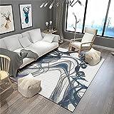 Autdoorteppich Designer Teppich Wohnzimmer Moderne grau-Blaue kreative Teppich-Druck-weiche rechteckige Farbe verblassen Nicht 120X140CM Home Teppich Outdoor