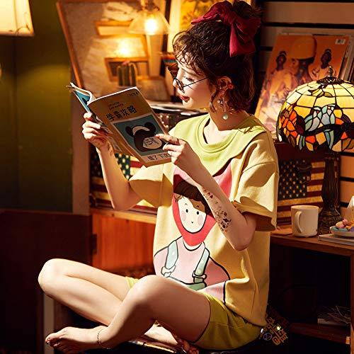 ZWLXY Frauen niedliche Nachtwäsche 2PCS Shirt & Shorts Pyjamas Set Print Nachtwäsche Cartoon Intime Dessous Pyjamas Casual Homewear,Gelb,XL