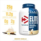 Dymatize Elite Casein Protein Powder, Slow Absorbing with Muscle Building Amino Acids, 100% Micellar Casein, 25g Protein, 5.4g BCAAs & 2.3g Leucine, Helps Overnight Recovery, Smooth Vanilla, 4 Pound