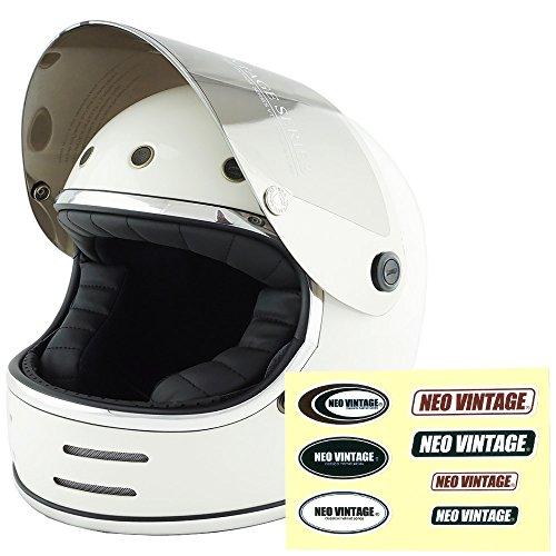 NEO VINTAGE レトロフューチャー フルフェイス SG規格品 ステッカー付 [ホワイト×シルバーミラーシールド 白 Mサイズ:57-58cm対応] VT-9 バイクヘルメット