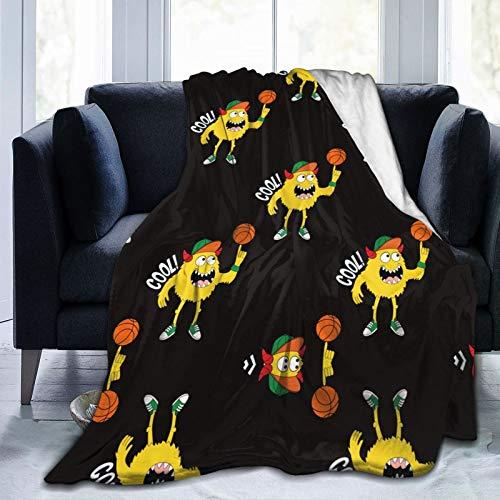 WGYWE Niedlicher Kinder-Sofaüberwurf mit Monster-Motiv, sehr weich, Micro-Fleece, Bettdecke, Stuhlüberzug, 203 x 152 cm
