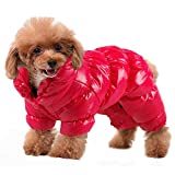 PET ARTIST Winter Puppy Dog Coats for Small Dogs,Cute Warm Fleece Padded Pet Clothes Apparel Clothing for Chihuahua Poodles French Bulldog Pomeranian Red Chest:18''