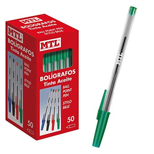 Dohe - Caja de bolígrafos con capucha - 1,0 mm - 50 uds - Verde