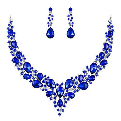 Clearine Juegos de Joyas Mujer - Lágrimas Encaje Flor Rhinstone Conjunto de Joyas para Novia Boda Fiesta Regalo Azul Oscuro
