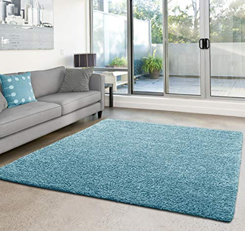 Shaggy-Teppich | Flauschiger Hochflor für Wohnzimmer, Schlafzimmer, Kinderzimmer oder Flur Läufer | einfarbig, schadstoffgeprüft, allergikergeeignet | Türkis - 90 x 300 cm