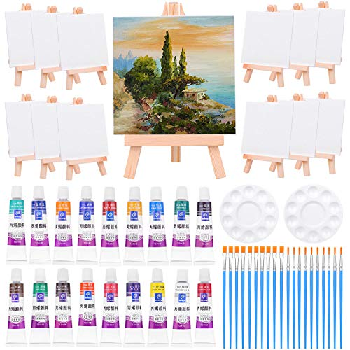 Mini Canvas and Easel, Paxcoo 60 Pieces Mini Canvas Painting Set Includes 4x4 Inches Small Tiny Painting Canvas, Mini Easel, Acrylic Paint, Paintbrushes for Paint and Sip Art Party Supplie...