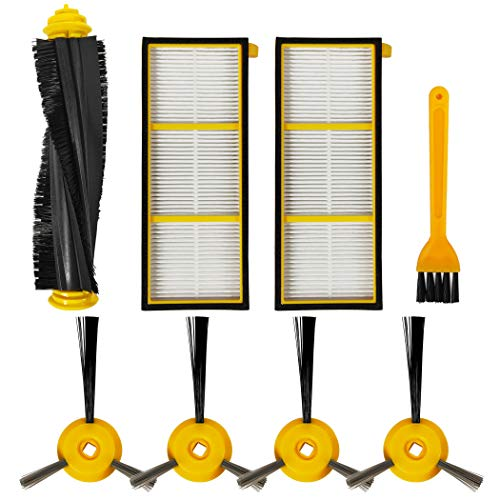 iboodihouse Accessories Replacement/Compatible for Shark ION Robot Vacuum Cleaner RV700 RV720 RV750 RV755 Parts(1 Roller Main Brush & 2 Filter & 4 Side Brushes & 1 Cleaning Brush) Central Dining Features Filters Kitchen Vacuum