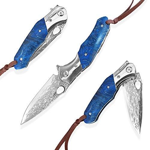 Dellinger KAERU vg-10 & Damast Taschenmesser & Klappmesser & Damaststahl Messer & Outdoor Damastmesser Folder Knife 8cm Klinge