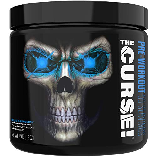 JNX Sports The Curse! Pre Workout Supplement - Intense Energy & Focus, Instant Strength Gains, Enhanced Blood Flow - Nitric Oxide Booster with Creatine & Caffeine - Men & Women | Blue Raspberry | 50 Srv