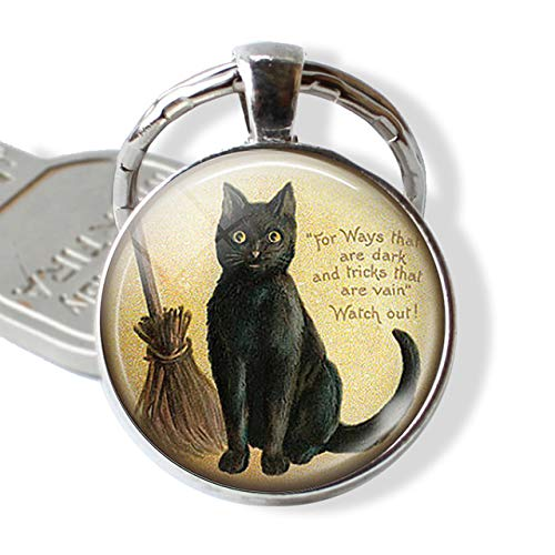 DSBN sleutelhanger zwarte kat keychain liefhebbers Keyring kat met bezem heks glas wijnoogst katje Jewerly Cabochon Key Chain Ring Doorzichtig als show