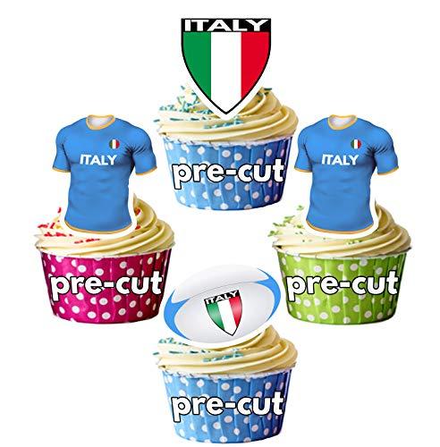 AK Giftshop vorgeschnittene Rugby-Weltmeisterschaft Trikot Ball Flagge Team Italien – essbare Cupcake-Toppers/Kuchendekorationen (12 Stück)
