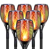 DIKAIDA 6Pcs Solar Lights Outdoor, 96 LED Flickering Landscape Torch Light, Auto on/Off Flame Garden Lighting, Dusk to Dawn Weatherproof Patio Tiki Torches