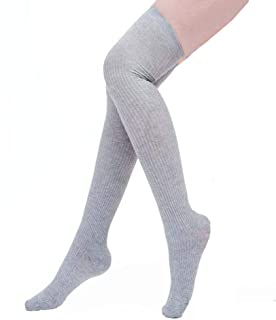​Womens Sexy Over Knee High Socks Leg Warmer Crochet Thigh High Boot Socks (Grey)