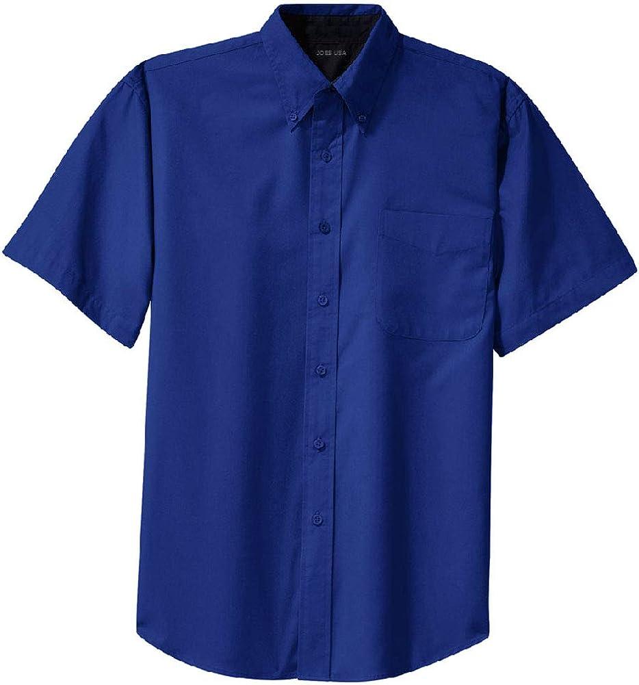 Men's Short Sleeve Wrinkle Resistant Shirts-Tall-LT-Royal/ClassicNavy