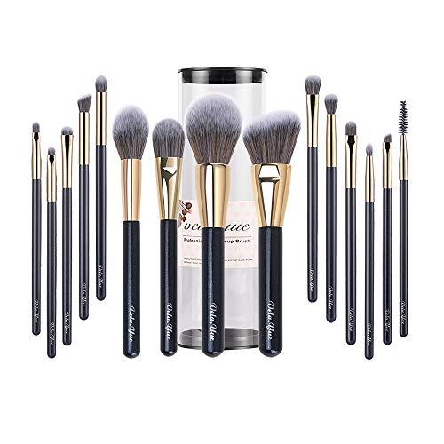 vela.yue Pinceaux Professionnels Maquillage 15 Pinceaux Visage Yeux et Lèvres Trousse de Voyage