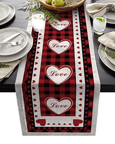 YEHO Art Gallery Tischläufer in Herzform, rot, kariert, Valentinstag, rutschfest, modern, Bauernhaus-Tischläufer für Familien, Abendessen, Küche, Büro, Dekoration, 33 x 228,6 cm