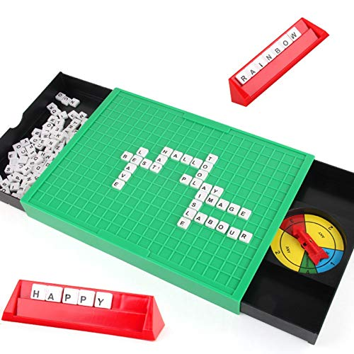 PHLPS Scrabble World of Board Game Ganning Moves Movimientos de Tile Lock Scrabble Travel Scrabble Deluxe Edition Double-Sesed Game Board Matching y Word Game