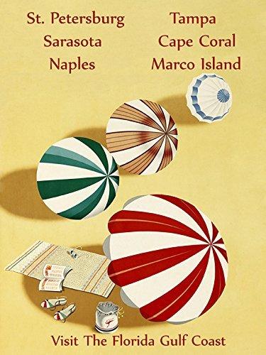 "Florida Gulf Coast St. Petersburg Sarasota Naples Tampa Cape Coral Marco Island Beach Umbrella Travel Tourism Vintage Poster Repro 12"" X 16"" Image Size"