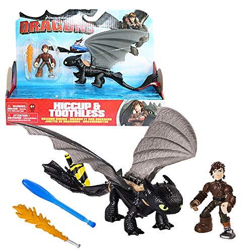 Dragons Ohnezahn gelbe Schwanzflosse & Hicks | DreamWorks Action Spiel Set