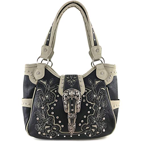 Zelris Western Floral Blossom Buckle Women Conceal Carry Tote Handbag Purse (Black)
