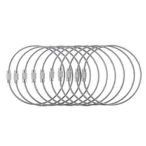 10x Edelstahl-Drahtseil Multifunktionale Männer Schlüsselring Geschenk Silber 35cm - silber, 15cm
