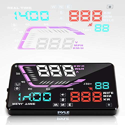 Heads Up Display HUD Screen - Universal 5.5'' Car Head-Up Windshield Display w/Multi-Color Screen Projector Vehicle Speed, GPS Navigation Compass, Plug and Play w/Speed, Time, Altitude, Etc - Pyle