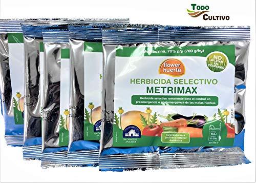 Herbicida selectivo metribuzina Huerta METRIMAX: Uso en Patata, Cereal 150 Gramos, 1500 Metros Cuadrados (5 Sobres de 30g)