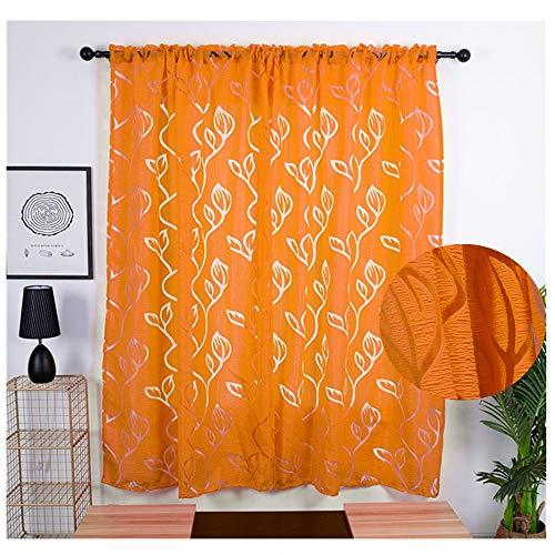 XLGX Rideaux Salon Occultants Brise-bise et Draperies à Oeillets Isolant Thermique Chambre Cuisine Décoratif Maison Fenêtre de Porte, 2 Panneaux,100x200cm (Orange)