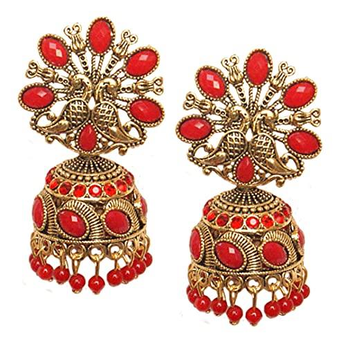 Pahal tradicional rojo perla Kundan grandes oxidados oro Jhumka pendientes Peacock indio Bollywood fiesta desgaste joyería para las mujeres