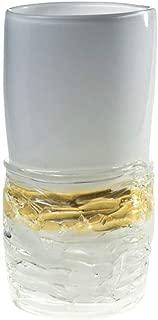 YourMurano Murano Glass Vase, White with Gold Leaf Decorations, Cylindrical Shape, Made in Italy, Elegant Design, Handmade, 100% Trademark of Origin Guaranteed, Atena