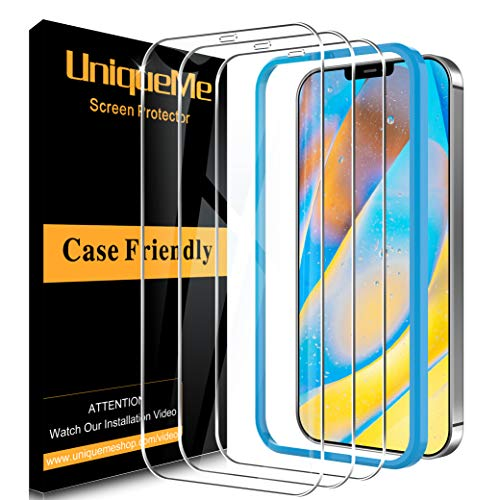 3 PACKUniqueMe Cristal templado Compatible con iPhone 12 min