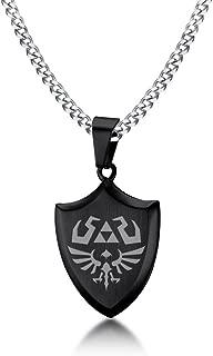 VNOX Legend of Zelda Breath of The Wild Stainless Steel Shield Pendant Necklace for Men Boy,24