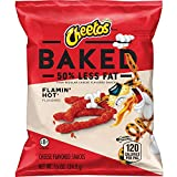 Baked Cheetos Oven Baked Crunchy Whole Grain Flamin' Hot Cheese Flavored Snacks, 0.875 Ounce (Pack of 104)