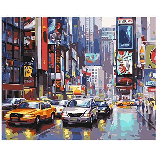 Cuadro sin marco Decoración del hogar pintura pintura al óleo por números dibujo abstracto por números regalo único-Paisaje callejero de la ciudad 60x75cm
