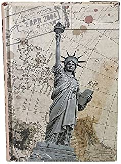 HARDCOVER JOURNAL Writing Notebook - Antique Handmade HARDCOVER Bound Daily Notepad, Vintage Print Series, (Statue Of Liberty)